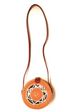 The front view of Beige rattan cross body bag