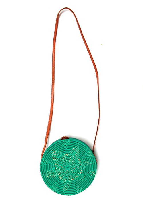 Back view of green rattan bag from Bali