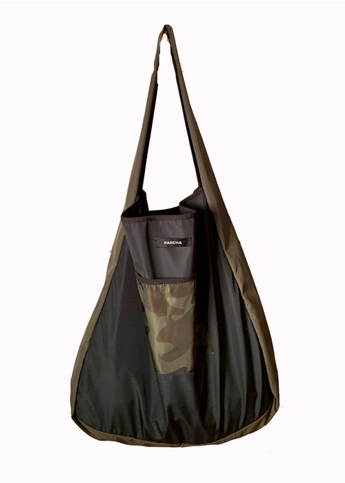 Khaki military and black tote bag with pocket