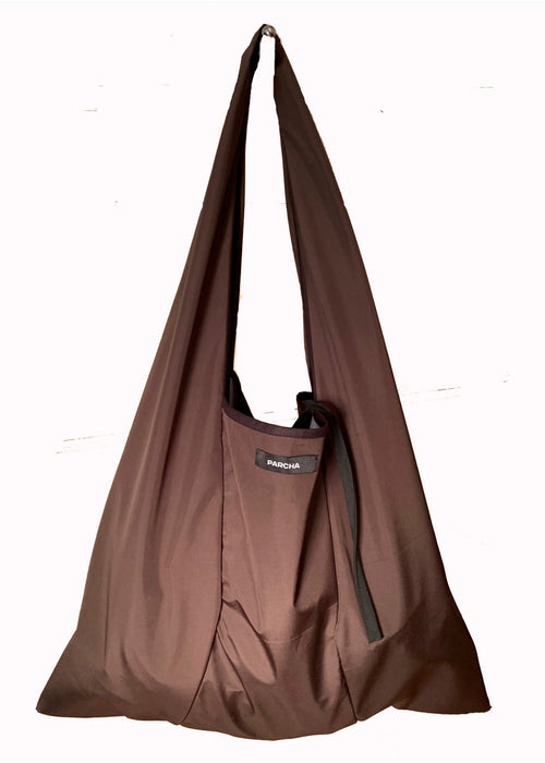 The front view of brown tote bag