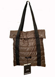Dark brown down fabric shoulder tote bag