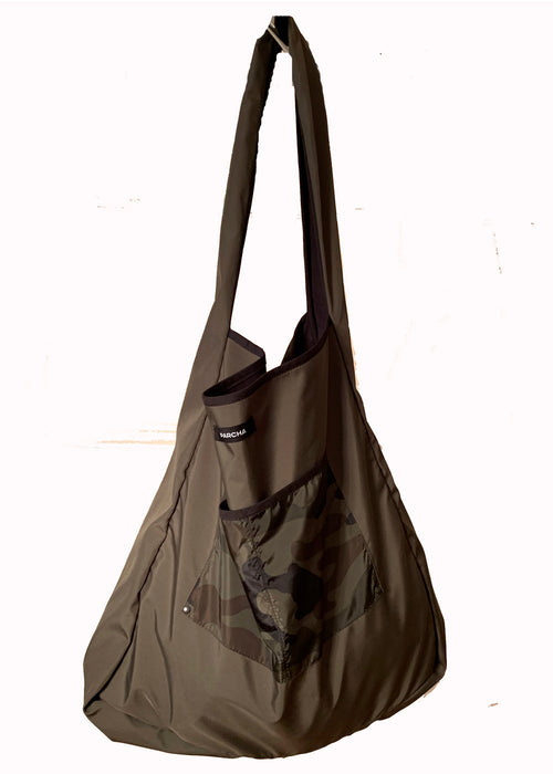 Khaki military print tote bag with pocket