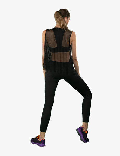 behind view of Black Sheer Tank Top by Azerbaijani designer MESHQUE
