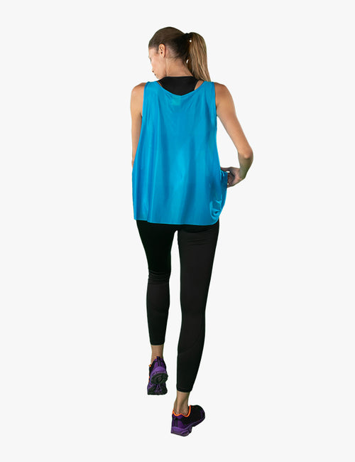 back view of Blue Tank Top by Azerbaijan designer