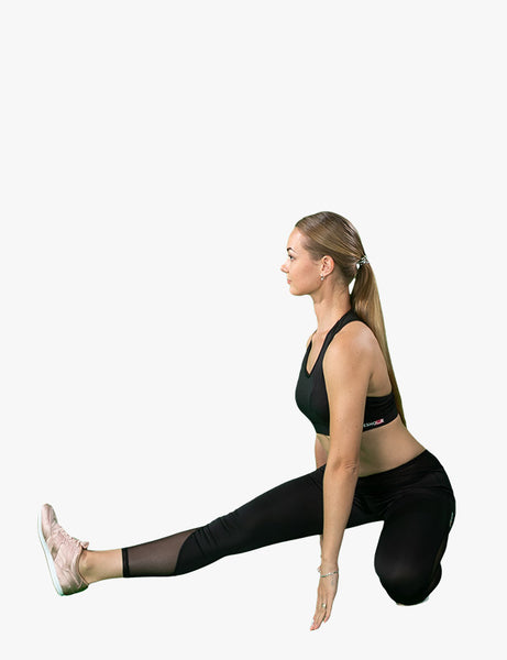 active sport view of Black and Sheer Leggings by Azerbaijani designer MESHQUE