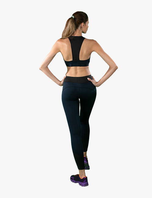 behind view of Black Complete Leggings by Azerbaijani designer MESHQUE