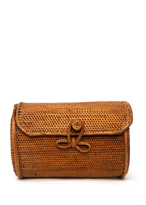 The front view of Rattan cylinder shape bag