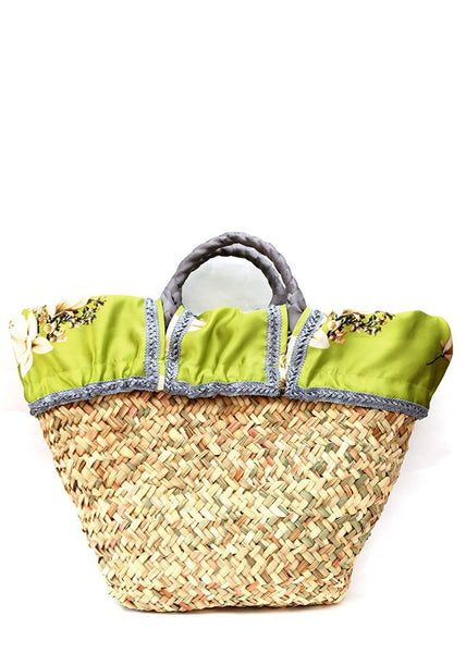 Back view of  Straw bag with combination insert of fabric and silver ribbon.