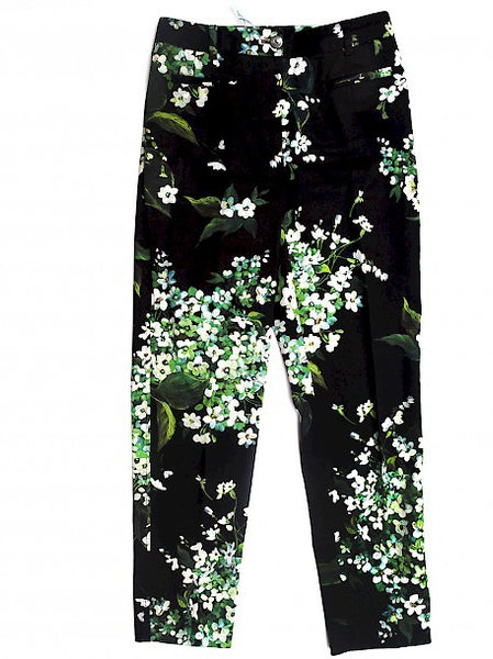 full height Luxury DOLCE & GABBANA Black Trousers with Prints