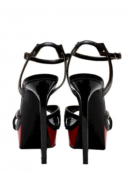 Back view of Luxury YVES SAINT LAURENT Black and Red Sandals