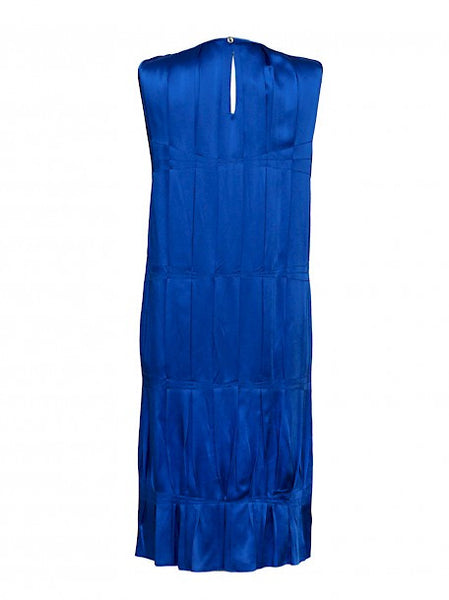 bakc view of Luxury MICHAEL KORS Blue Silk Dress
