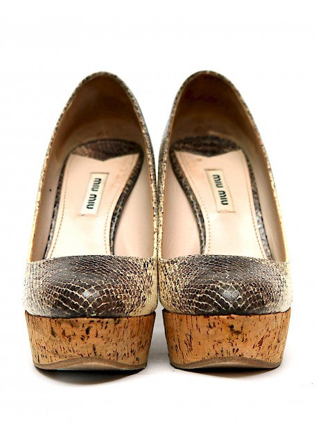Front view of pre owned MIU-MIU Snake Leather Wedges