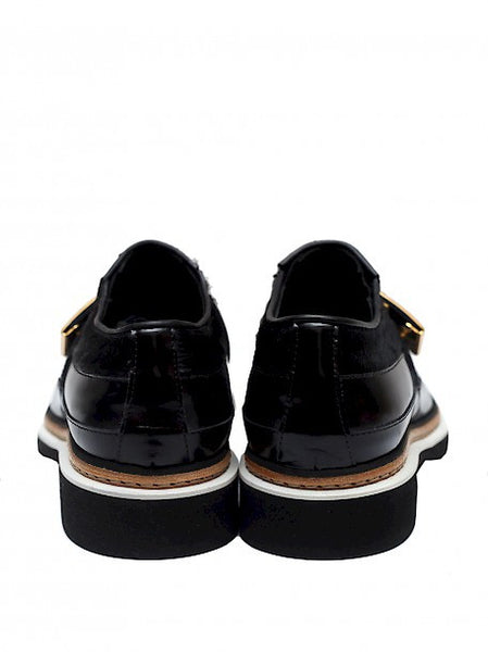 Back view of luxury ALEXANDER MCQUEEN Black pony leather shoes