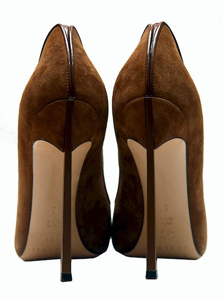 Bak view of Luxury CASADEI Brown Suede Heels