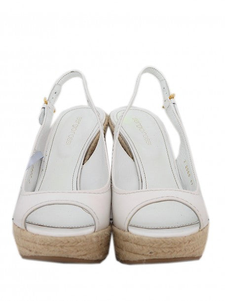 front view of Luxury SERGIO ROSSI White Wedges