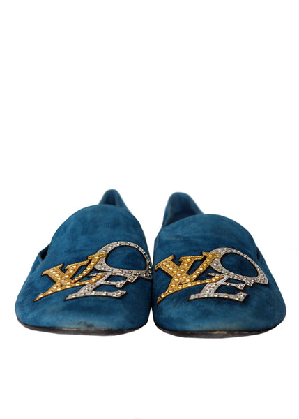 Luxury LOUIS VUITTON Blue Moccassins