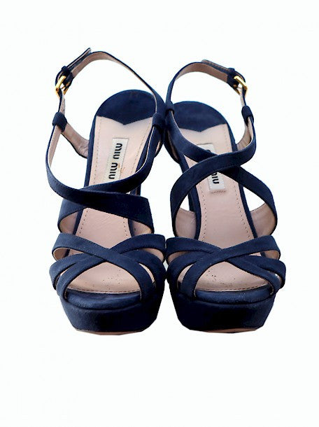 Pre owned MIU-MIU Blue Suede Sandals