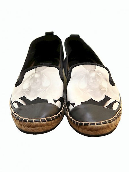 Luxury FENDI Black Satin Espadrilles
