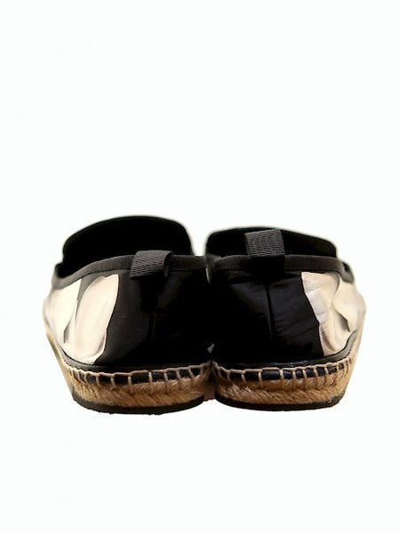Bak view of Luxury FENDI Black Satin Espadrilles