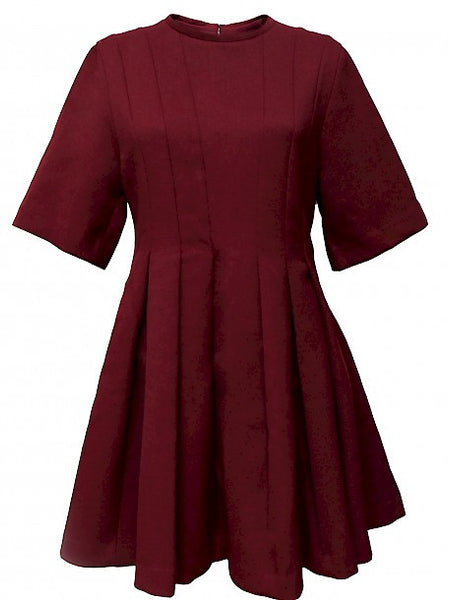 Vinous Color Wool Dress