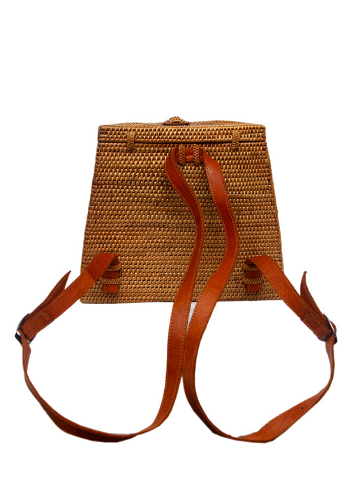 The back view of light brown rattan backpack