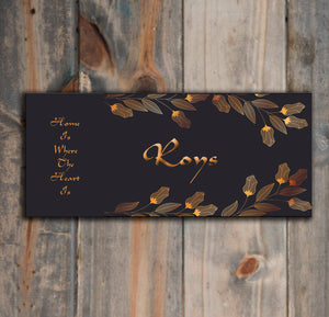Golden leaves Wooden Name Plate