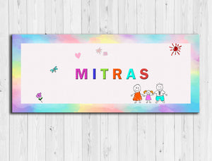 Mitras Happy Family Wooden Name Plate