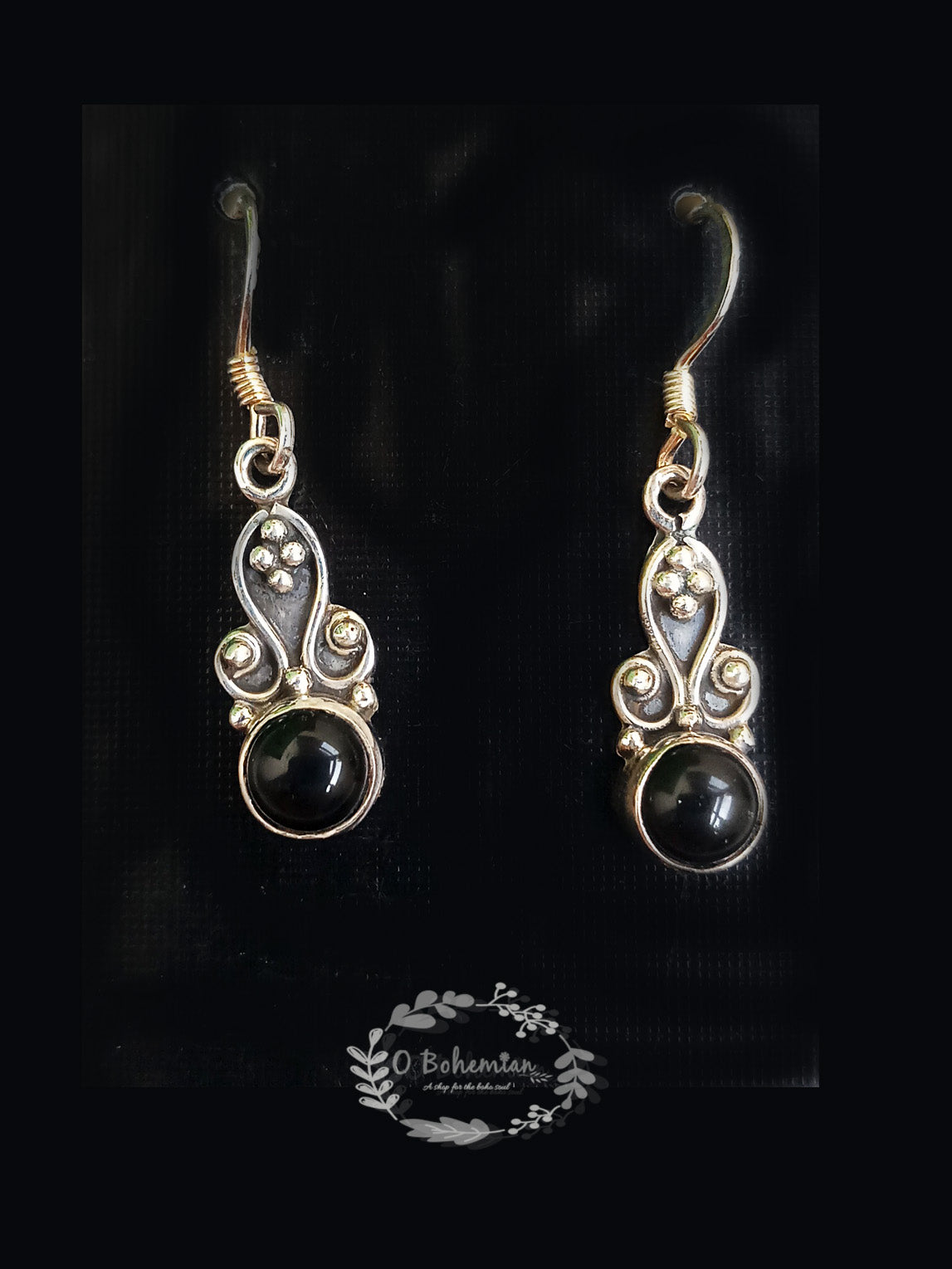 Silver & Black Onyx Cabochon Stone Earrings