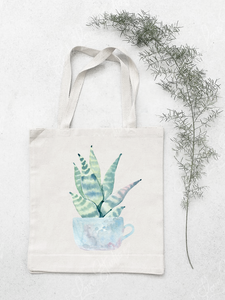 Cactus in Water Colour Cotton Tote Bag