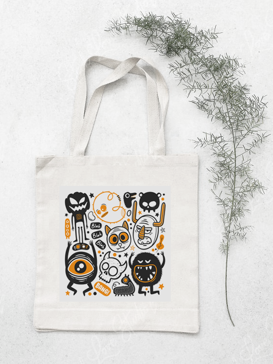 Cute Monsters Cotton Tote Bag