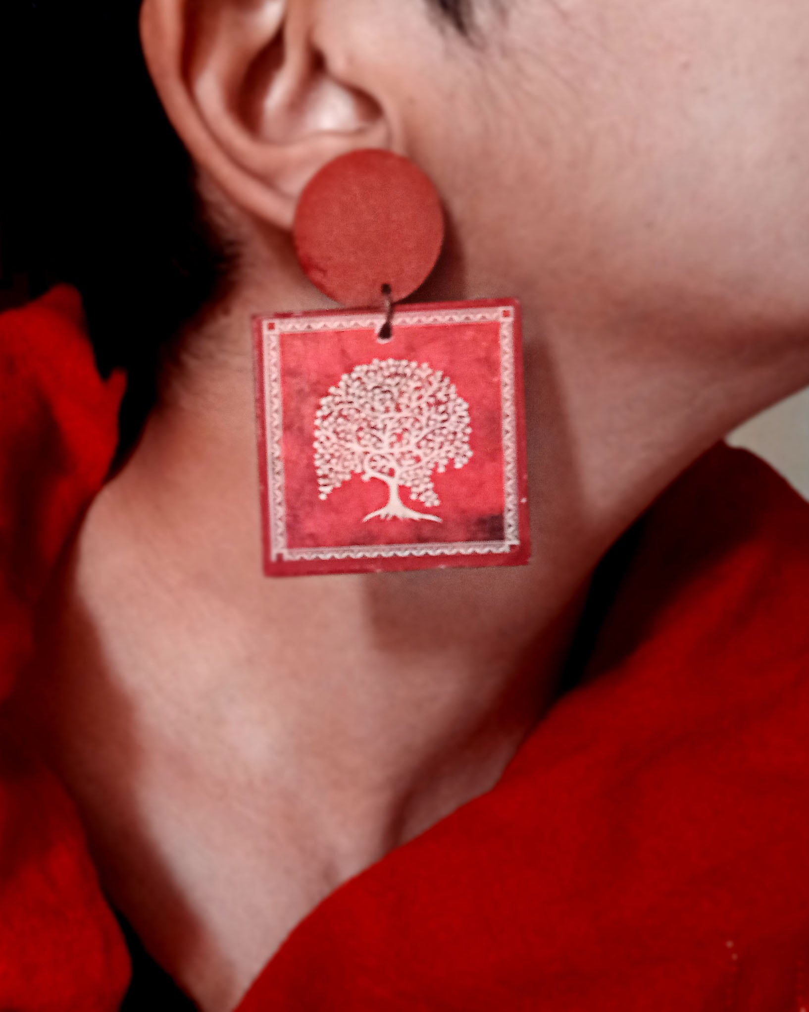 Wooden Warli tree of life earring