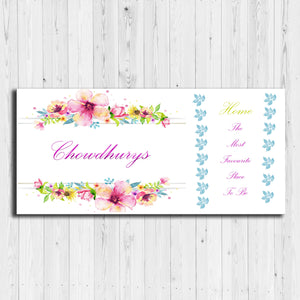 Floral Design Wooden Name