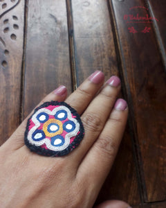 Kutchi mirror work fabric ring