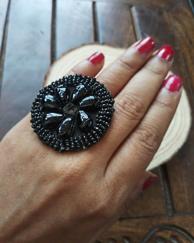 Beaded fabric ring FR13