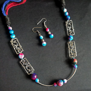 Long agate beaded oxidized necklace