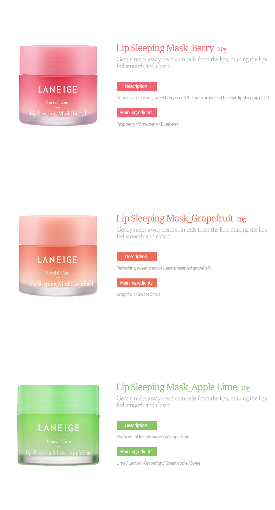 Laneige Lip Sleeping Mask 20g Beauty Meca Gently Melts Away Dead Skin Cells From The Lips Making Feel Smooth And Elastic