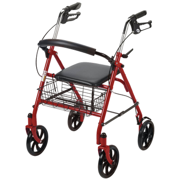Drive Medical Four Wheel Rollator with Fold Up Removable Back Support Red