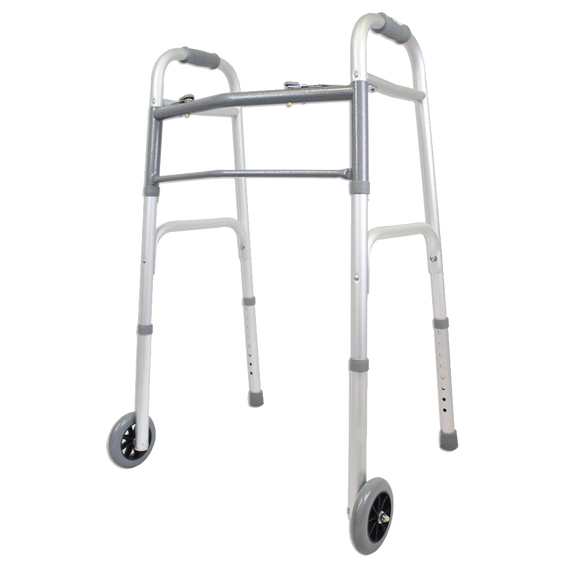 Ez2care Deluxe Two Button Folding Walker with 5-Inch Wheels