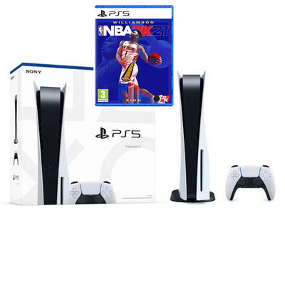 Sony PlayStation PS5 Standard - Blanc + CD NBA 2k21