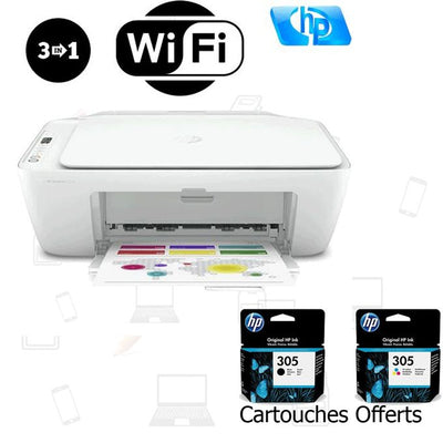Hp Imprimante 2710 - Wifi - Impression - Photocopie - Scanner - Blanc - Cartouches Offerts