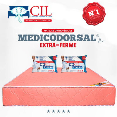 PROMO - Matelas CIL Extra PH8-2Places MEDICODORSAL® Brodé + 2Grands Oreillers CIL Epert