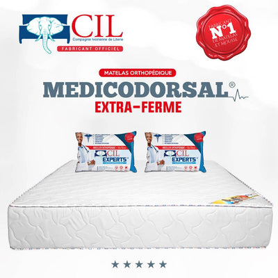 PROMO - Matelas Extra PH8-2Places MEDICODORSAL® Brodé + 2Grands Oreillers à Plumes