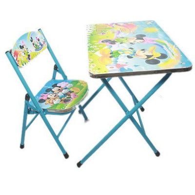 Ensemble chaise pliante te table pliante enfant bleue
