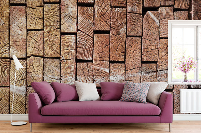 2x6 Stacked Wood Wallpaper Mural deckchair