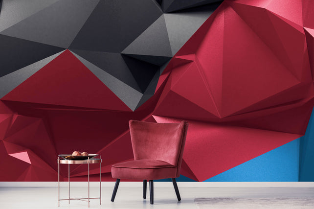 Abstract Faceted Crystals Red Chair