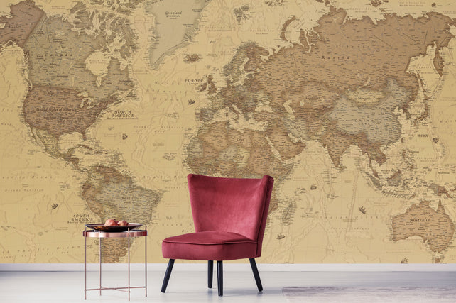 Ancient World Map red chair