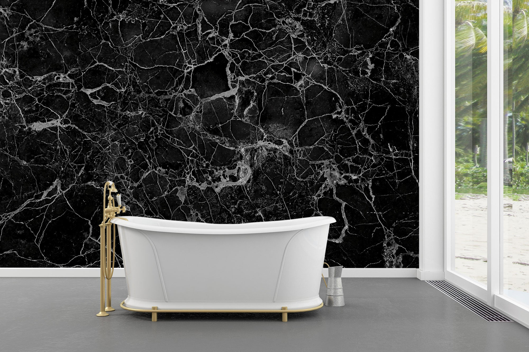Black and White Stone Wall Bath
