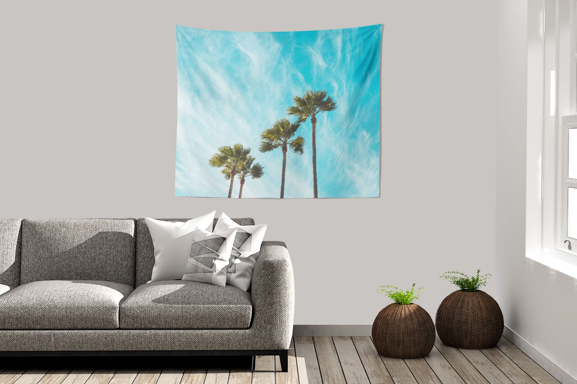Blue Palm Trees Tapestry sofa