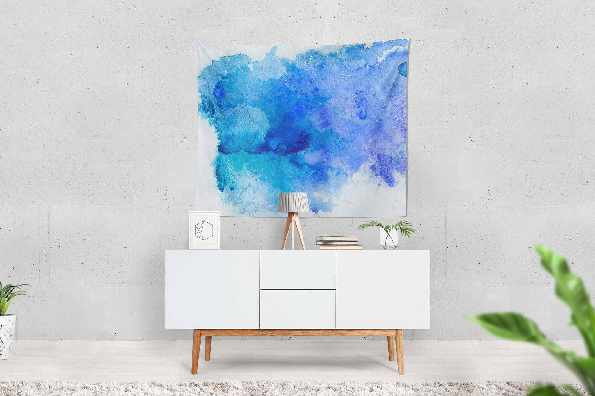 Blue Watercolour Tapestry table