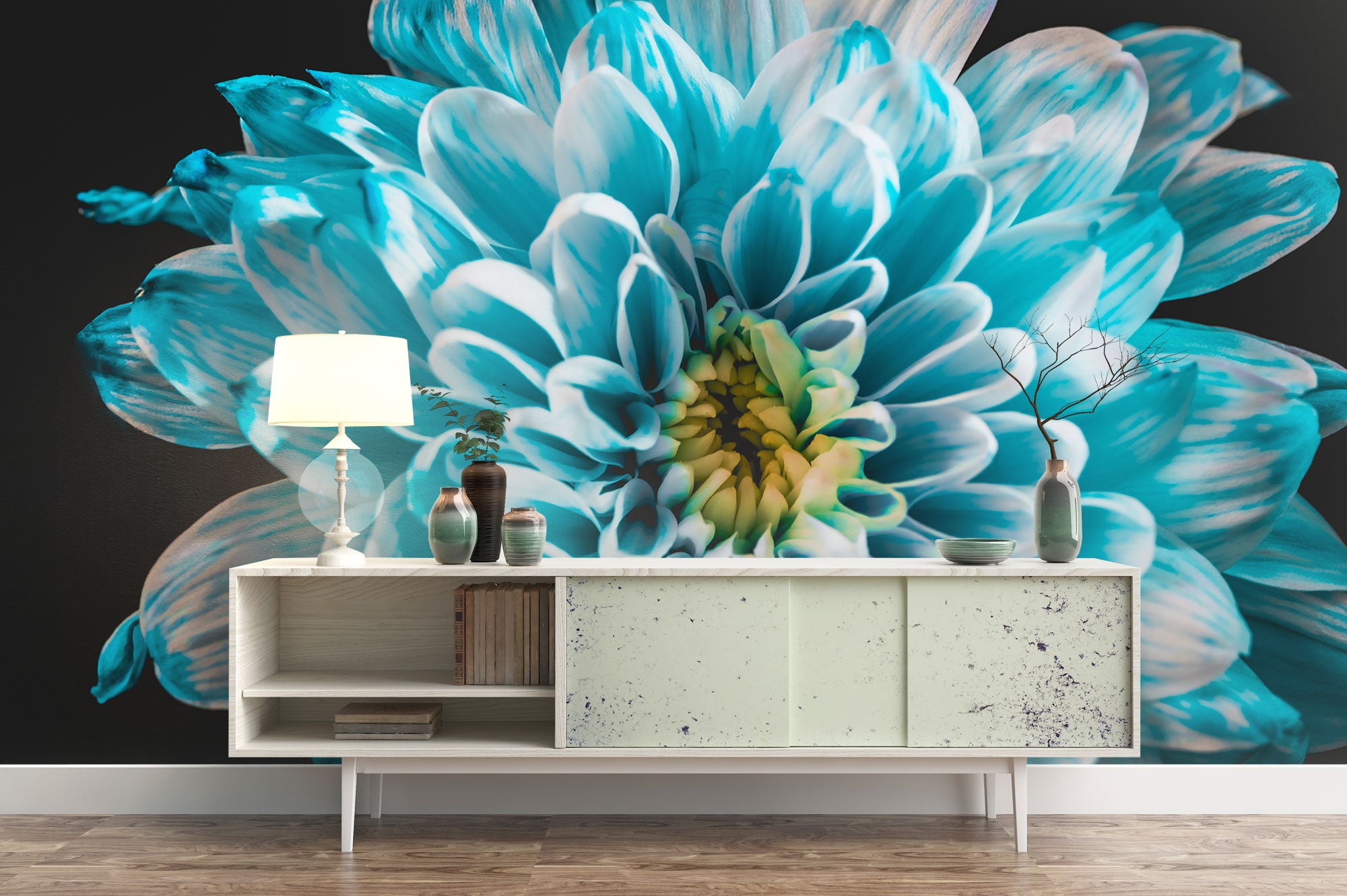 Blue & White Dahlia Side Table